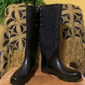 Coach Black Monogram Rain Boots